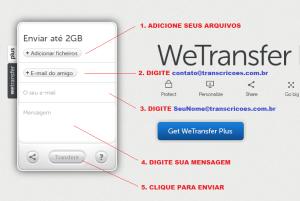 Tela do Wetransfer em 2014